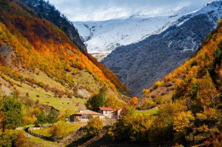 Caucasian mountains of Svaneti in the fall. Georgia
