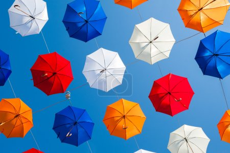 Colorful umbrellas and colorful background