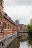 Krásný výhled na historické čtvrti města Gent, Belgie