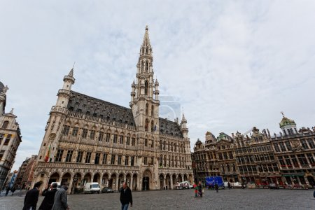 BRUSSELS, BELGIUM - JUNE 7: A panoramic view to Grand Plas square, on June 07, 2012 in Brussels, Belgium. Main sight of the area - the Gothic town hall constructed