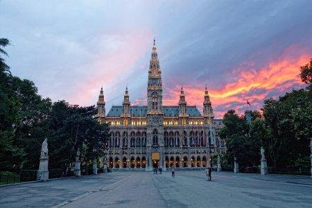 Tall gothic building of Vienna city hall, Austria