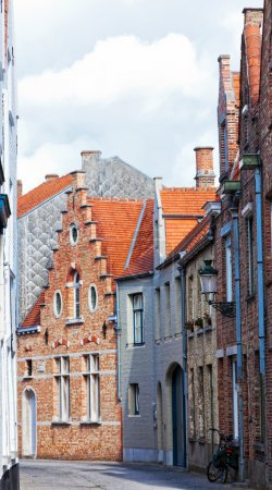 Medieval houses on streets of Bruges, Belgium
