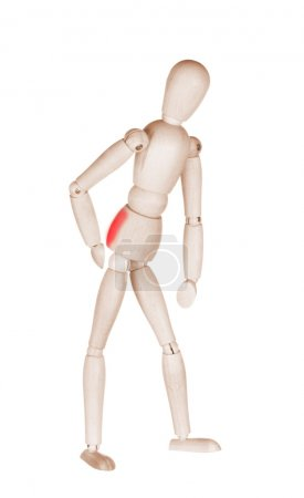 Joint pain at wooden mannequin