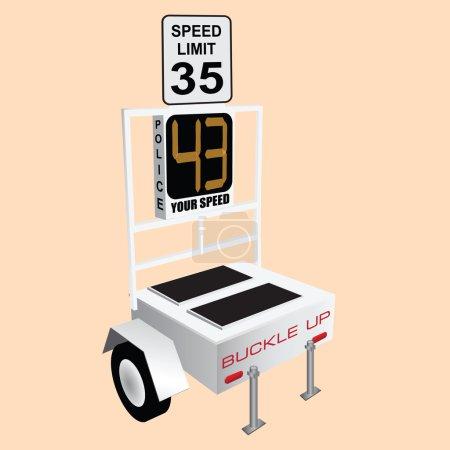Illustration pour Commande des dispositifs de surveillance et de la vitesse sur les routes. illustration vectorielle. - image libre de droit