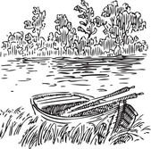 Boat with oars near the shore Vector illustration