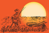 The fisherman with a boat against the setting sun Vector illustration