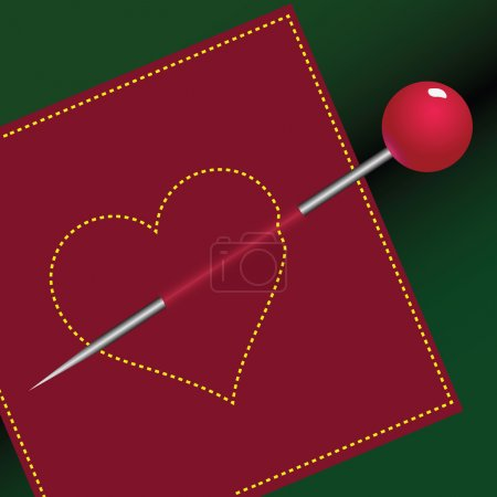 Illustration for Decorative embroidery sewing heart pierced with a pin. Vector illustration. - Royalty Free Image