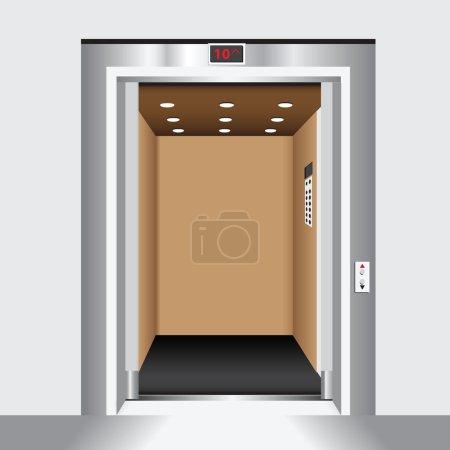 Open door passenger elevator. Housing industry. Ve...