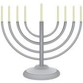 The symbol of the Jewish religion - minor with nine candles Vector illustration