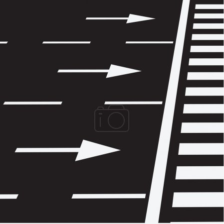 Illustration for The marking of the road at a pedestrian crossing. Vector illustration. - Royalty Free Image