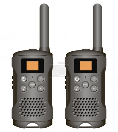 Illustration for Set of walkie-talkies for industrial use. Vector illustration. - Royalty Free Image