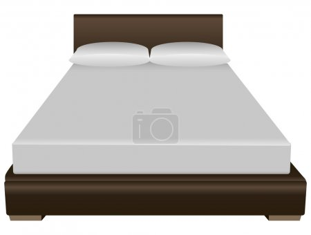 Illustration for Contemporary double bed with a pillow and sheets. Vector illustration. - Royalty Free Image