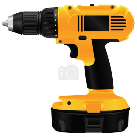 Illustration for Hand electric drill with battery. Vector illustration. - Royalty Free Image