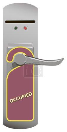 Warning on the door knob Occupied