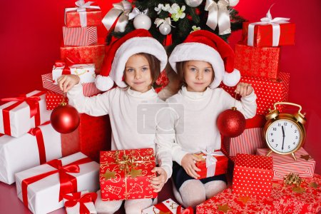 Twins and Christmas presents