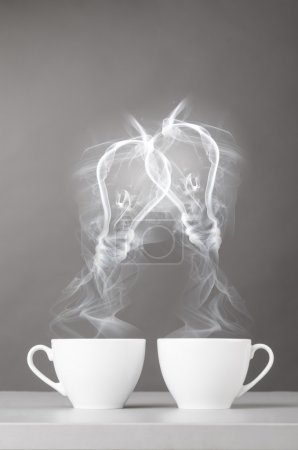 Photo for Creating idea. bulbs silhouette from steaming hot coffee cup - Royalty Free Image