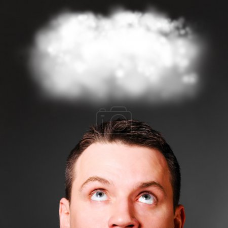 Photo for Man is looking up at clouds - Royalty Free Image