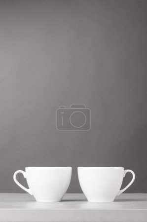 Photo for Cup of coffee on gray background - Royalty Free Image