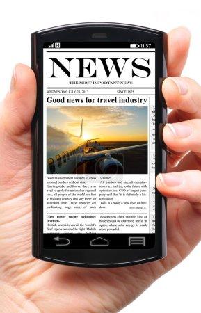 Photo pour Téléphone portable dans la main avec des nouvelles sur l'écran tactile, isolé sur blanc - image libre de droit
