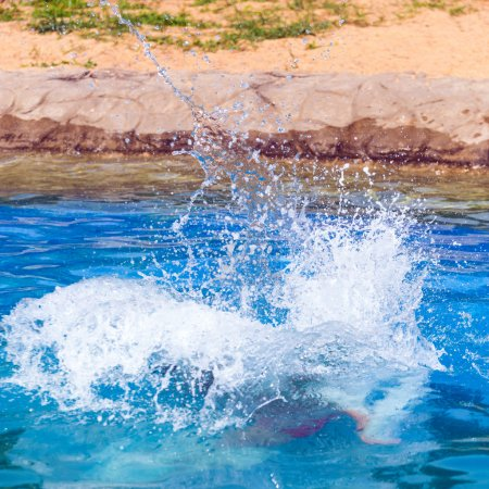 Photo for This is a stop action shot of a big splash in a swimming pool - Royalty Free Image