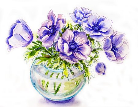 Photo for Spring flowers in vase, watercolor illustration - Royalty Free Image