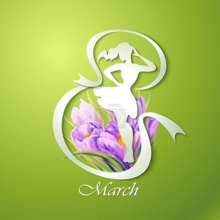 Photo pour Joyeuse carte de vœux de la Journée des femmes. 8 mars . - image libre de droit