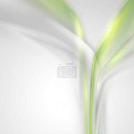 Gray abstract background with green elements