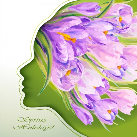 Illustration for 8 March. Beautiful young woman with flowers in hair - Royalty Free Image