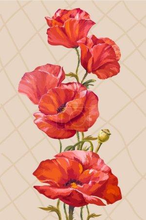 Illustration pour Peinture à l'huile. Carte avec fleurs de coquelicots - image libre de droit
