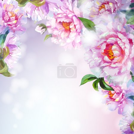 Illustration for Peonies flowers background. Spring flowers invitation template card - Royalty Free Image