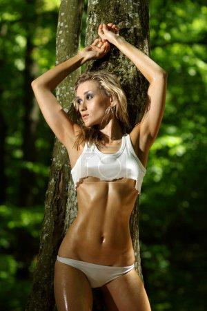 Lovely girl in a white bikini