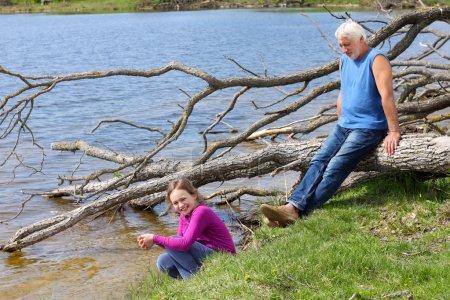 Family near river