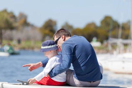 Family at a marina dock