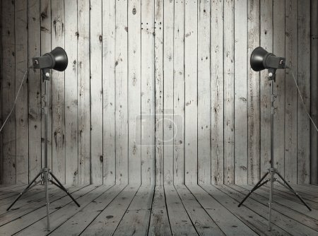 studio in old wooden room