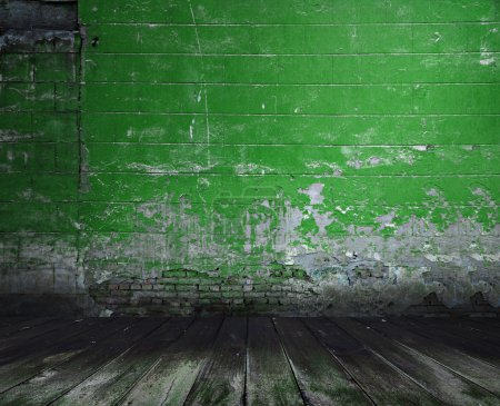 Photo for Old room with concrete wall and wooden floor, green background - Royalty Free Image