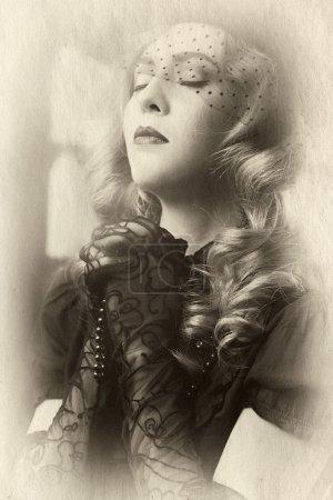 Vintage style portrait of woman