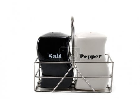 Photo for Salt and pepper in a set on a white background - Royalty Free Image
