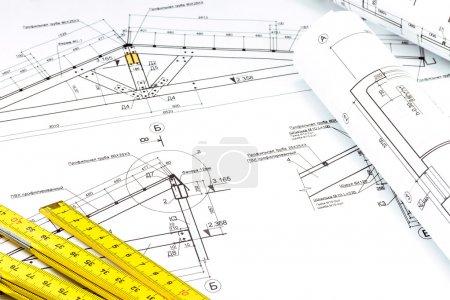 Photo pour Règle et détail de dessin industriel - image libre de droit