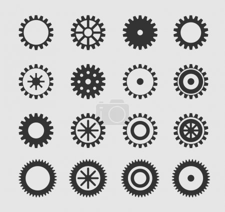 Illustration for Vector black gearwheel icons set on gray - Royalty Free Image