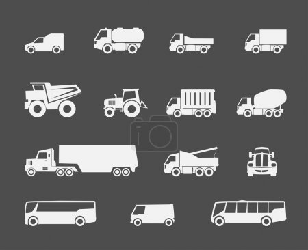 Trucks and buses icons
