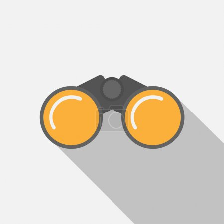 Illustration for Binoculars flat  style icon with long shadow - Royalty Free Image