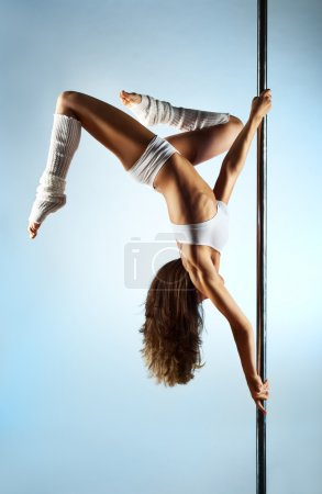 Photo for Young slim pole dance woman. - Royalty Free Image