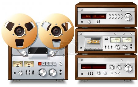 Photo for Analog Music Stereo Audio Components Vintage Rack - Royalty Free Image