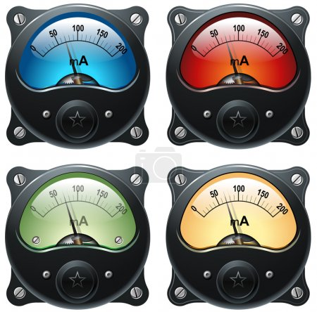Foto de Electrónica analógica señal vúmetro, realista ilustración aislada, set 4 - Imagen libre de derechos