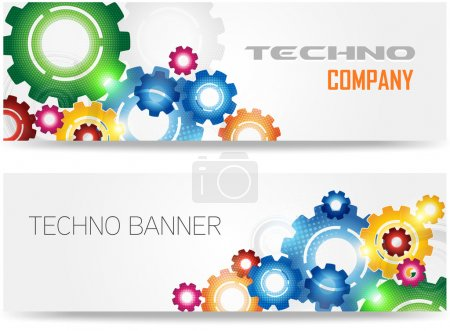 Illustration pour Technologie Vecteur de bannière à engrenages colorés - image libre de droit