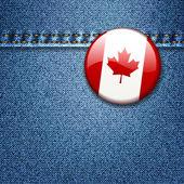 Canadian Flag Badge on Denim Fabric Texture