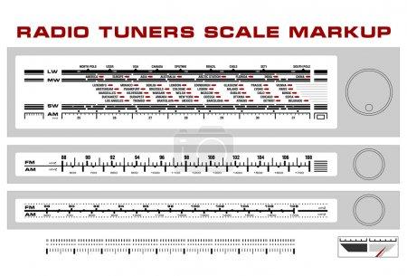 Radio tuner scale dashboard markup vector, 3 style...