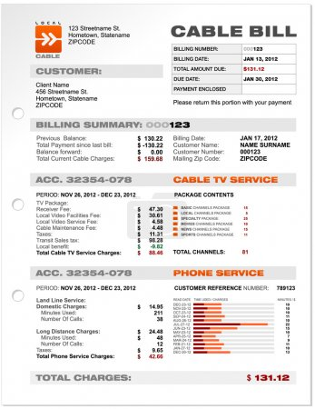 Illustration for Cable Service Phone Bill Document Sample, Document Template Vector - Royalty Free Image