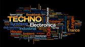Electro Techno Musikstile word Cloud-Blase-Tag-Struktur