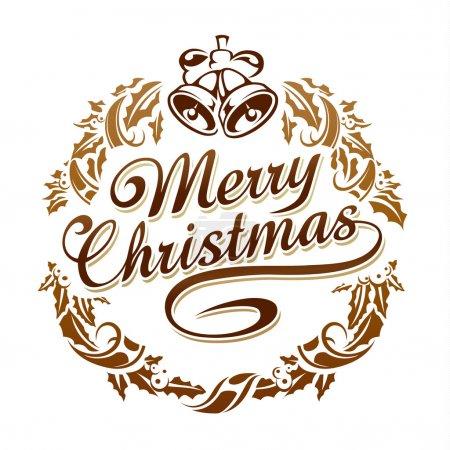 Illustration pour Joyeux Noël typographie avec couronne et cloches de Noël . - image libre de droit